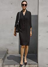 最大袖连衣裙条纹<br> <font color=9A9A9A>黑标</font>
