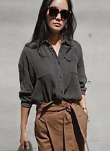 浮雕口袋女衬衫