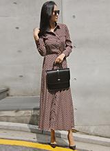 席琳褶皱长款连衣裙