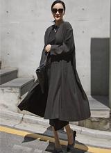 波浪群/喇叭裙亚麻长款外套