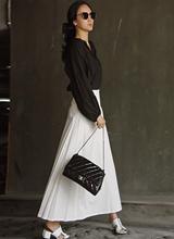 温泉亚麻长款裙子